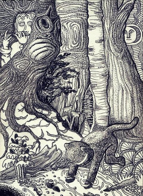 Чёрно-белая весна. Моё, Рисунок, Графика, Волшебный лес, Гончар, Длиннопост, Кот, Ниндзя