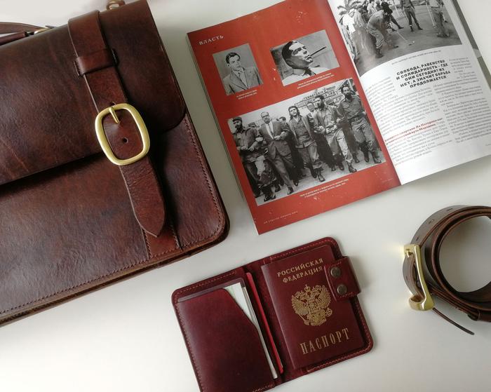 Почти классический кожаный портфель Рукоделие без процесса, Кожа натуральная, Портфель, 50 оттенков коричневого, Латунь, Руки не для скуки, Видео, Длиннопост