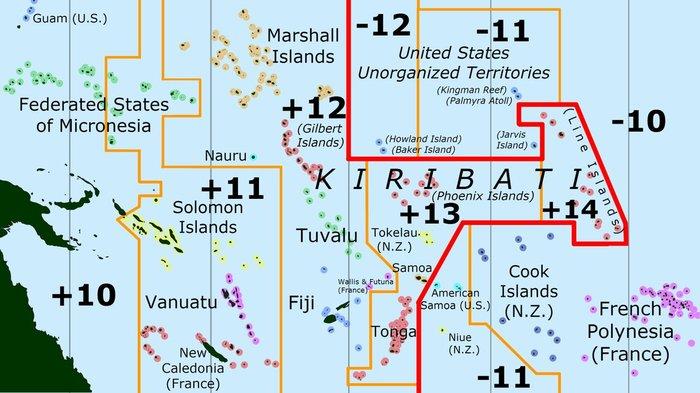 Хитросплетение часовых поясов в островных государствах Океании. Карты, Часовые пояса, Океания, Интересное