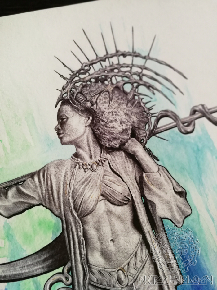 ATLANTIS Арт, Рисунок, Шариковая ручка, Акварель, Длиннопост, Девушки, Эскиз татуировки, Копье, Атлантида