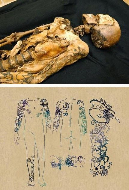 Принцесса с Алтая (умерла более 2500лет назад) Тату, Мумия, Алтай, Россия, Шаманство, Археология