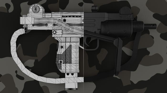 Пневматическая UZM Blender, Cycles, 3d, Оружие, Пневматика, 3d моделирование, Длиннопост