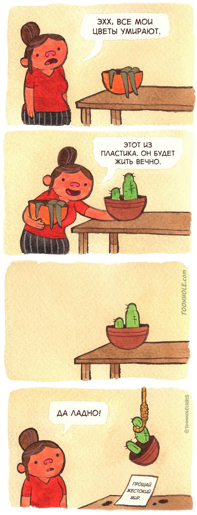 Проблемы с цветами Комиксы, Toonhole, Цветы, Растения, Шутка, Юмор, Длиннопост