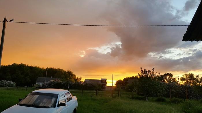 Закат солнца после дождя Фотография, Небо, Облака, Закат, Вечер, Село