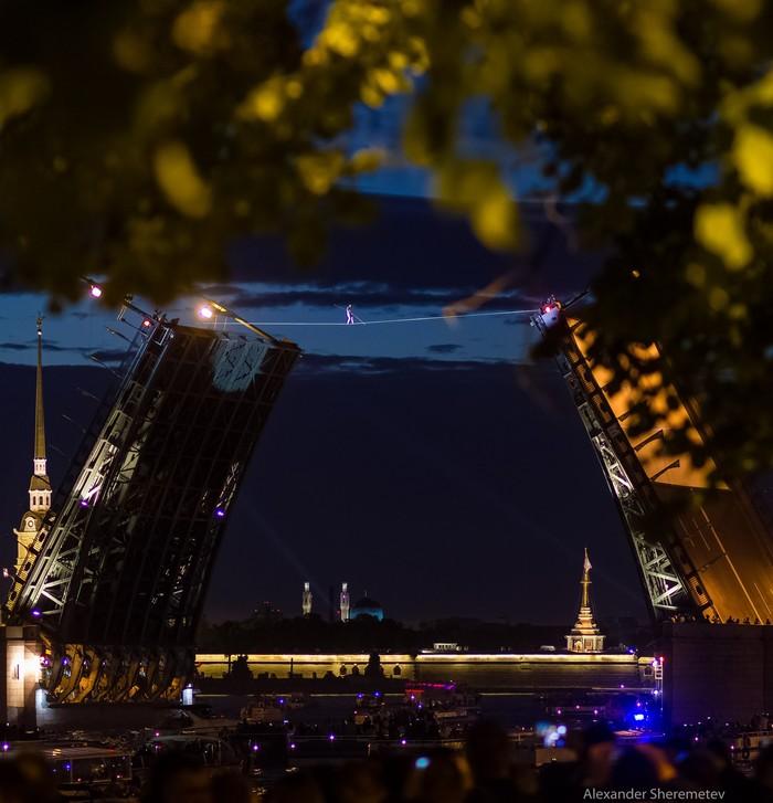 Канатоходец прошел через разведенный Дворцовый мост Санкт-Петербург, Дворцовый мост, Канатоходец, День города, Видео