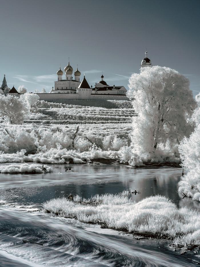 Утро на реке Нара Серпухов, Нара, Инфракрасная съёмка, Nikon D70, 720nm, Река, Утро, Пейзаж