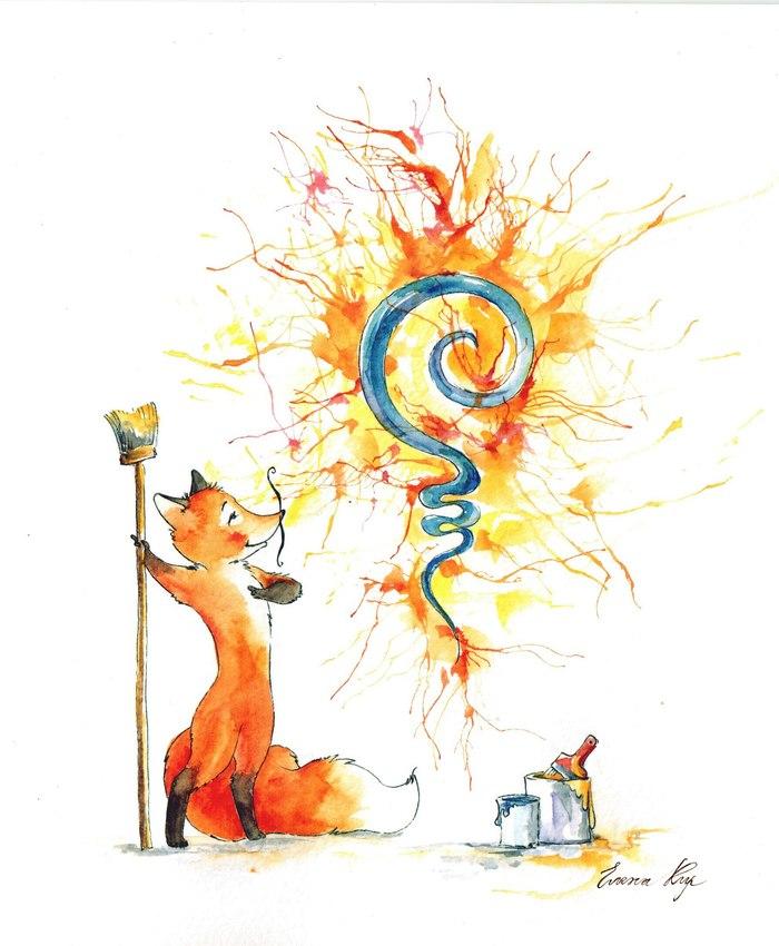 Лисички с поями Арт, Лиса, Творчество, Furry art, Длиннопост, Пои, Рисунок, Акварель