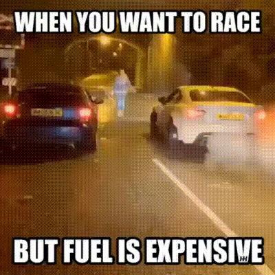 Когда ты хочешь устроить гонку, но топливо стоит дорого