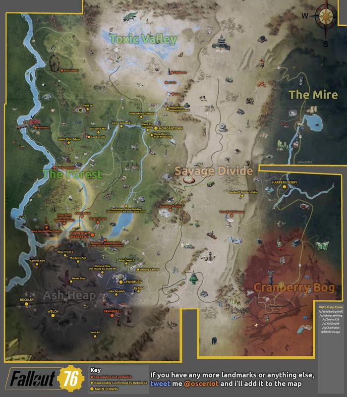 В сети появился вариант карты Fallout 76 Fallout, Bethesda, Fallout 76, Reddit, Компьютерные игры, Анализ