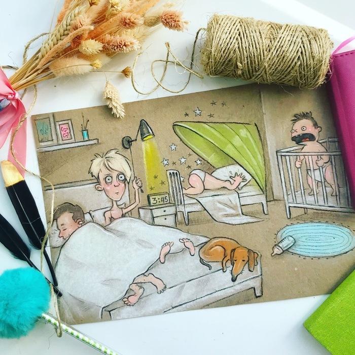 Когда у тебя двое детей Мама, Материнство, Дети, Иллюстрации, Декрет, Арт, Карикатура, Длиннопост, Рисунок