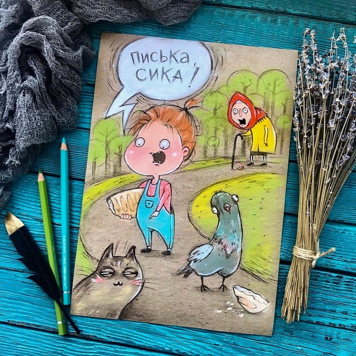 Птичка, киса! Материнство, Иллюстрации, Рисунок, Дети