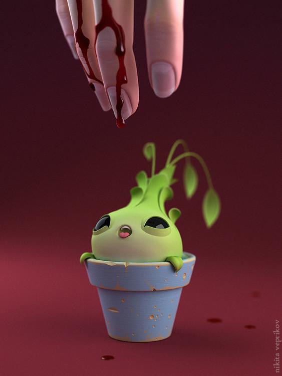 """Feed off my blood"" 3D рисунок, арт, рисунок, картинка без текста, кровь, горшок"
