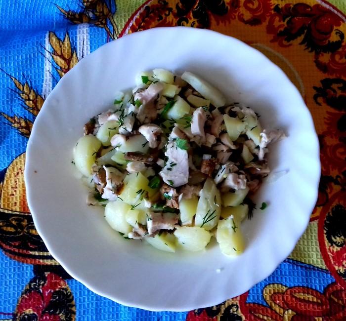 Салат с копчёным куриным филе. Кулинария, Рецепт, Салат с курицей, Еда, Длиннопост