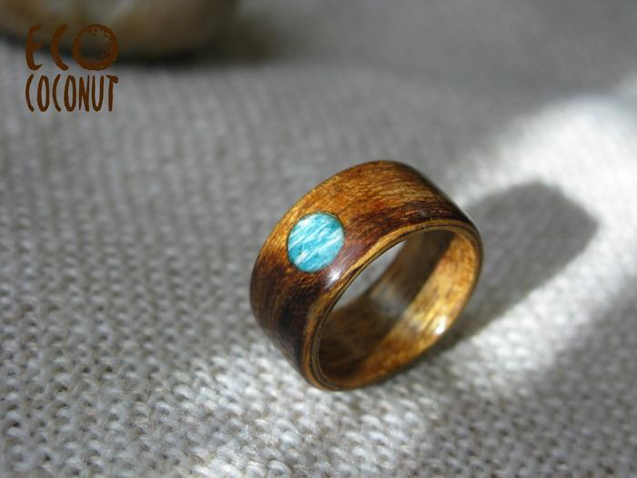 Деревянное кольцо с амазонитом. Кольцо, Кольцо из дерева, Деревянные украшения, Рукоделие без процесса, Длиннопост