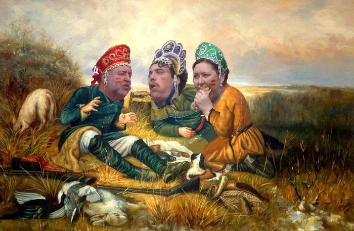 Три охотника на привале
