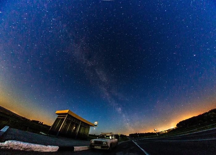 Звёздное небо Фотография, Небо, Звёзды, Машина, Остановка, Lightroom