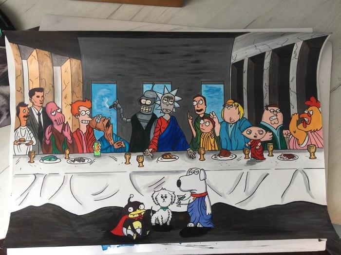 Тайная вечеря Рик и морти, Тайная вечеря, Мультфильмы, Гриффины, Футурама, Зубастик, Бендер, Рисунок, Длиннопост