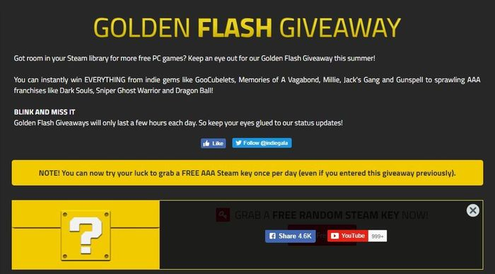Random Golden Flash Giveaway | 9-ый день. Steam, Халява, Indiegala, КК есть