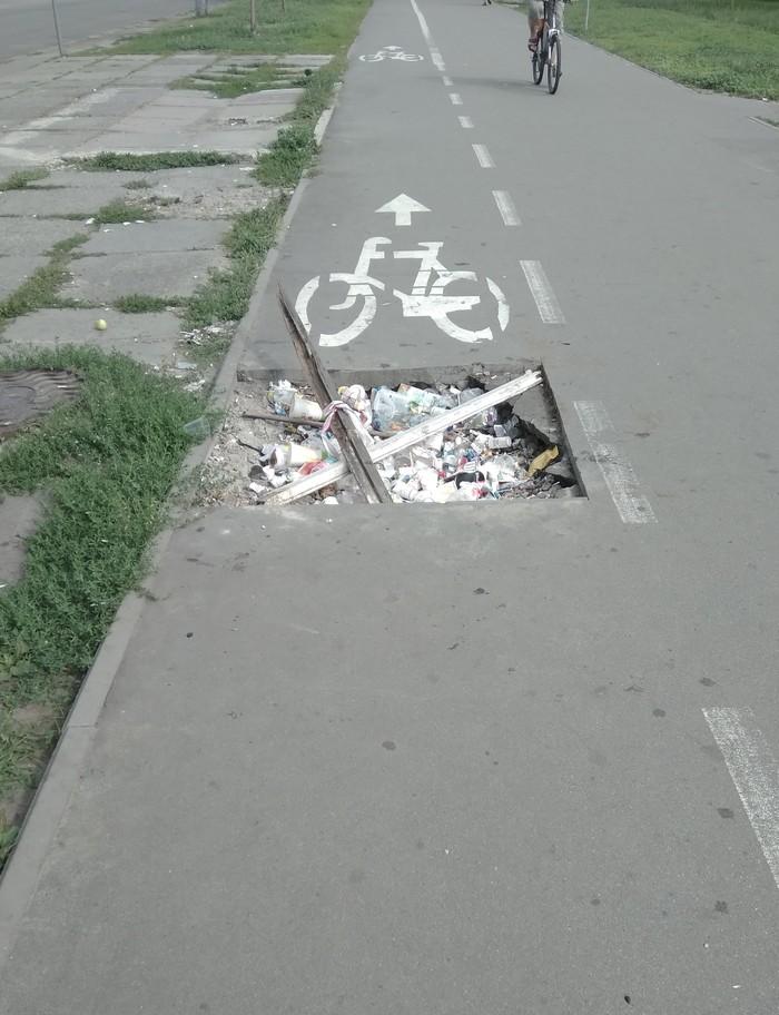 Велодорожки в Киеве Велодорожка, Недовольство, Мусор, Фотография, Яма