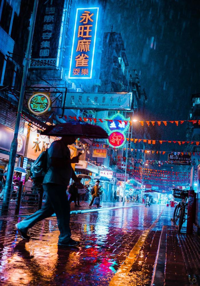 """""""Ливень и неон в Гонконге"""" фотография, Китай, Гонконг, дождь, неон, киберпанк, reddit"""