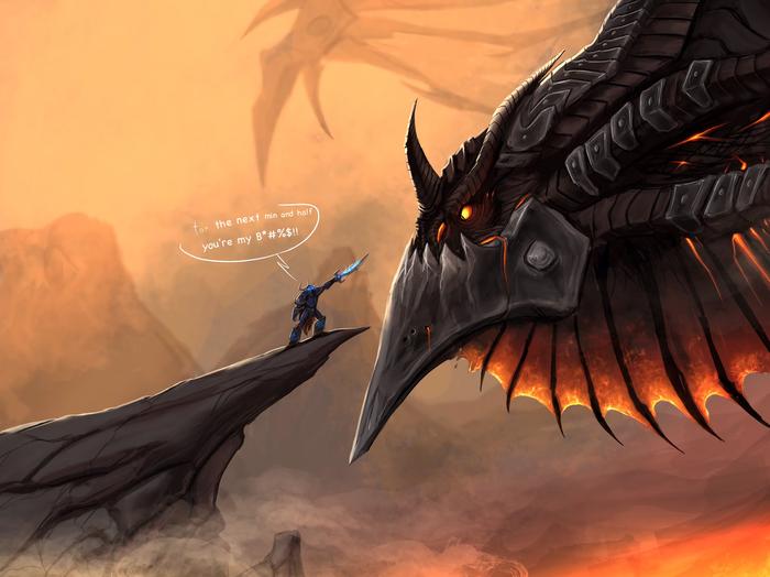 Соло рейд Арт, Game art, Blizzard, Wow, World of Warcraft, Смертокрыл, Дракон, Игры