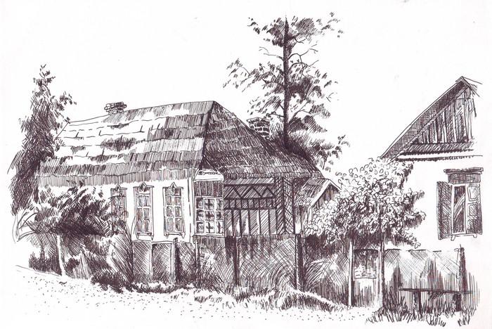 Наброски Рисунок, Набросок, Первый пост, Зарисовка, Дом