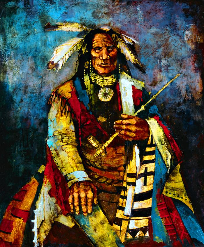 Сны красных шаманов Картина, Картина маслом, Холст, Индейцы, Масло, Шаман, Длиннопост