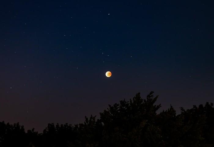 Лунное затмение 27.07 Фотография, Луна, Затмение, Марс, Длиннопост