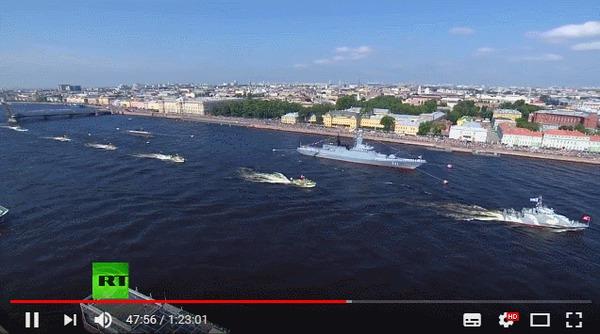 Инцидент на параде ВМФ в Санкт-Петербурге 2018. Столкновение с опорой моста. День ВМФ, Столкновение, Парад, Мост, Гифка
