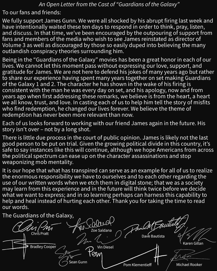 Актёры «Стражей Галактики» написали открытое письмо в поддержку Джеймса Ганна Фильмы, Стражи галактики, Джеймс Ганн, Письмо, Открытое письмо, Длиннопост, Знаменитости