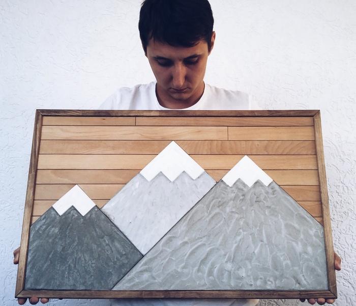 Картина «Горы» из дерева и бетона Рукоделие без процесса, Дерево, Бетон, Картина, Горы, Длиннопост