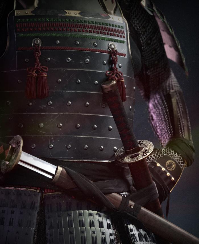 Samurai 3ds max, Zbrush, Самурай, Япония, Photoshop, Длиннопост