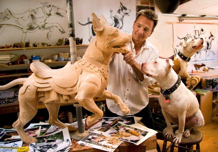 Пёсики Резьба по дереву, Мастер, Собака, Карусель, Фотография, Длиннопост, Tim Racer