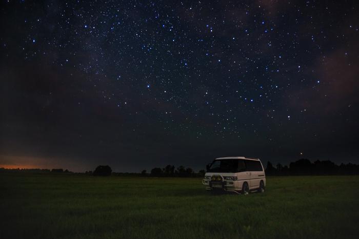 Mitsubishi Delica Star Wagon Mitsubishi, Делика, Ночь, Звёзды, Поле, Фотография, Сибирь