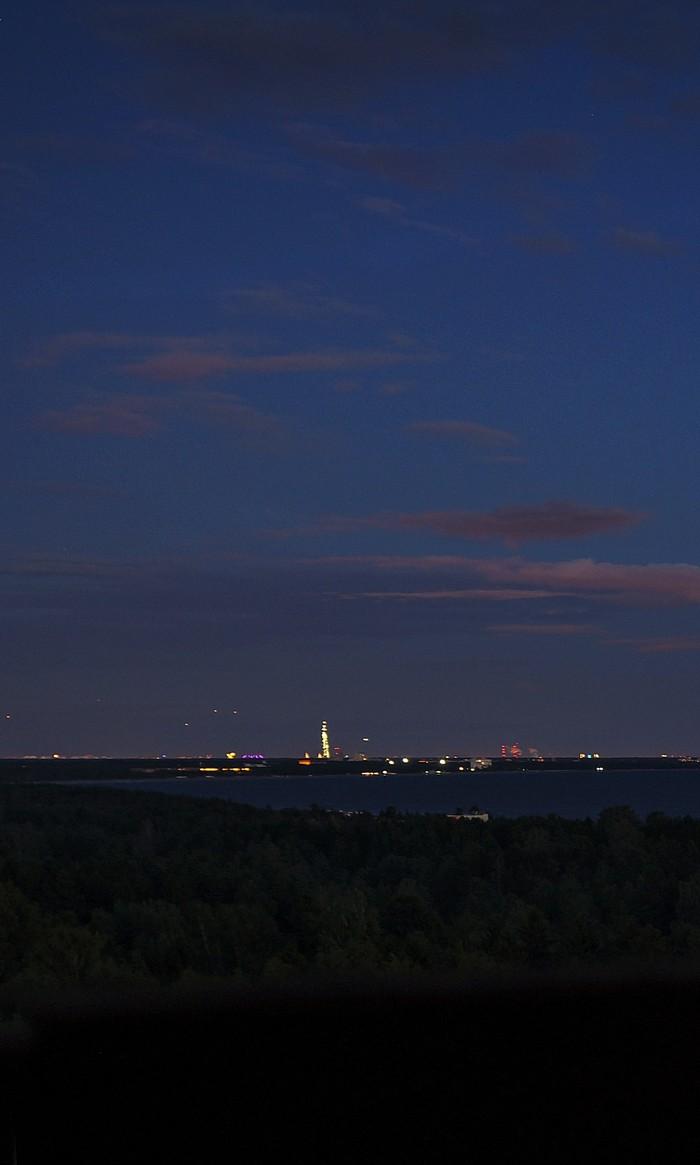 Финский залив Финский залив, Фотография, Панорама, Лахта-Центр, Луна, Ночь, Длиннопост