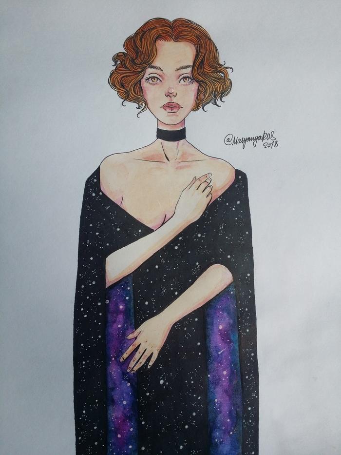 Космическая леди Masyanyarus, Рисунок, Девушки, Длиннопост, Акварель, Звёзды, Космос, Накидка, Одежда