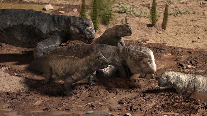Листрозавры Zbrush, 3ds max, Фотоманипуляции, Доисторические животные, Триасовый период, Копипаста