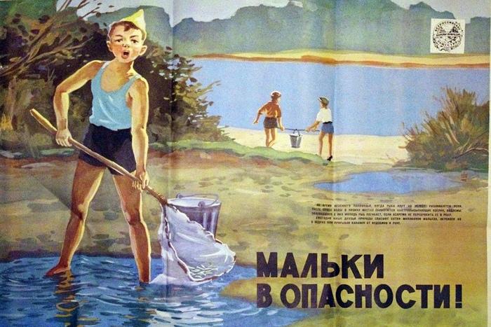 """""""Голубой патруль"""" спешит на помощь ! Экология, Агитация, СССР, Экосфера, Плакат, Голубой патруль, Рыба, Спасение"""