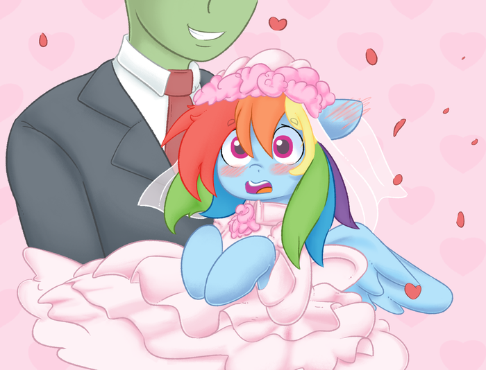 And They Get Married — The End My Little Pony, Rainbow Dash, Anon, Original Character, Ponyart, Шиппинг