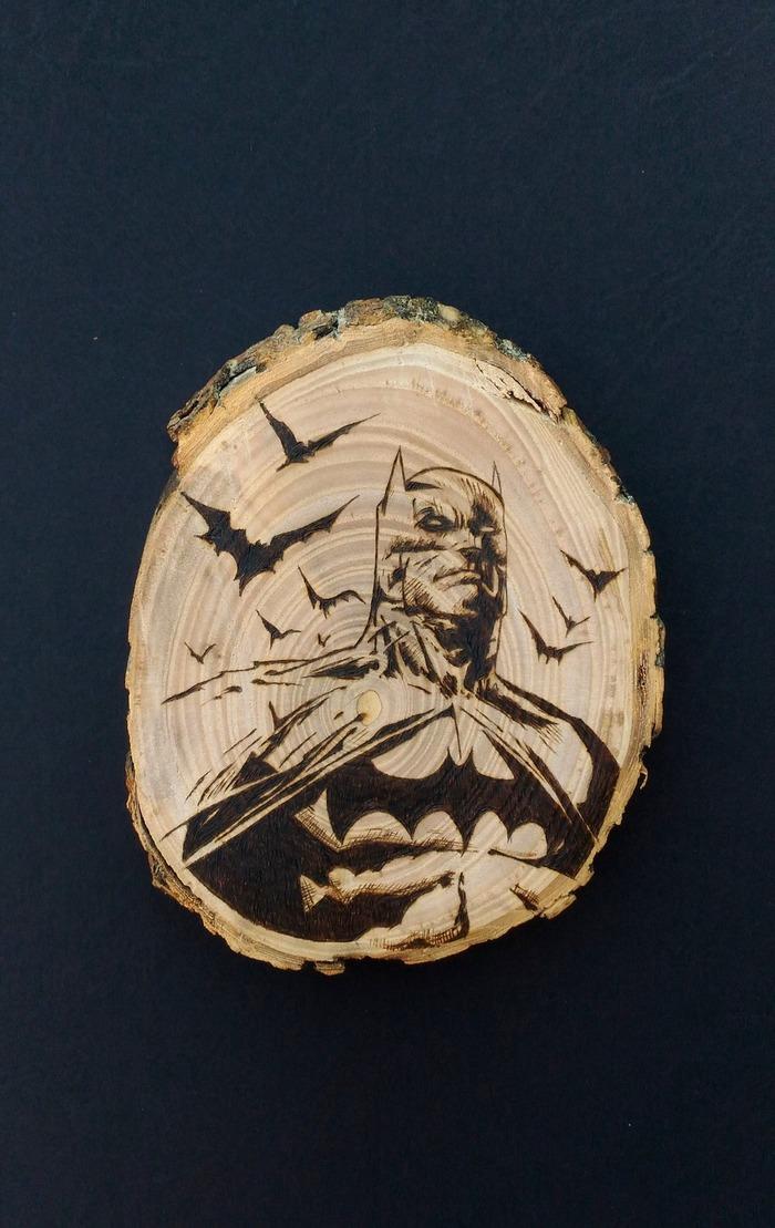 Бэтмен на яблоньке Бэтмен, Лига Справедливости, Комиксы, Летучая мышь, Пирография, Своими руками, Фанатское творчество