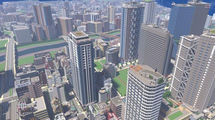Японский геймер зафигачил невероятных масштабов город в Minecraft Minecraft, Японцы, Видео, Длиннопост, Саяма