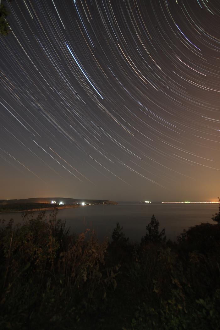 Звездное небо Пейзаж, Startrails, Звездное небо, Фотография, Река Волга, Тольятти, Река, Заповедник