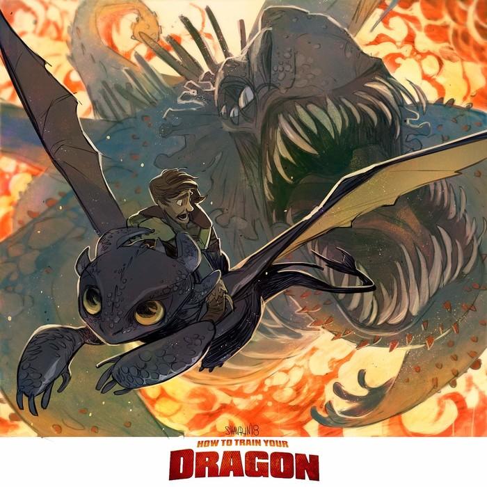 How to Train Your Dragon Арт, Как приручить дракона, Красная Смерть, Иккинг, Беззубик, Дракон