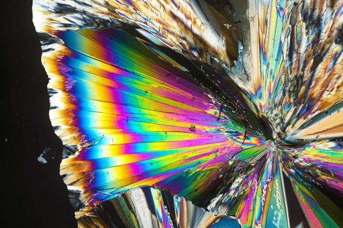 Кристаллы сахара под микроскопом. Микроскоп, Перекрестная поляризация, Поляризация, Сахар, Кристаллы, Длиннопост