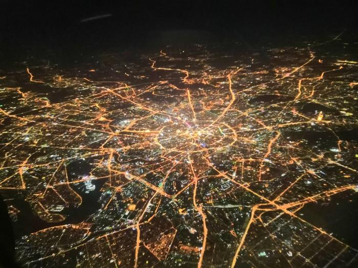 Вечерняя Москва Фотография, Москва, Вид из самолёта