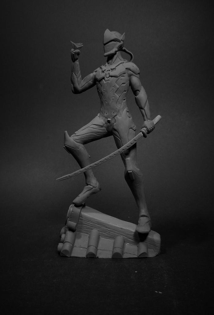 Фигурка Гэндзи из полимерной глины Overwatch, Blizzard, Genji, Лепка, Полимерная глина, Своими руками, Творчество, Ручная работа, Длиннопост