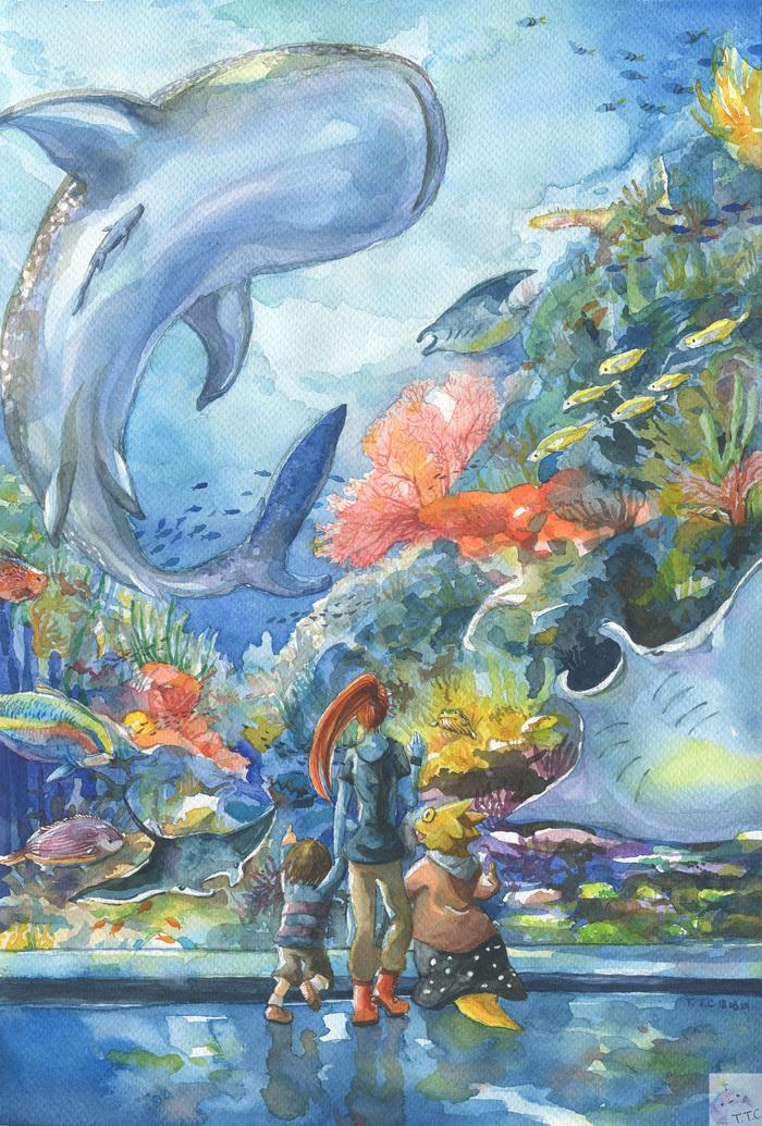 Undersea Undertale, Арт, Frisk, Undyne, Alphys, Океанариум