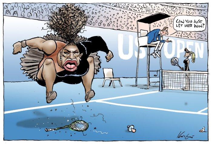 Карикатура с остервеневшей Сереной Уильямс взбесила ее поклонников Серена уильямс, Теннис, Расизм, Скандал, Спорт, Карикатура, Длиннопост, Негритянка