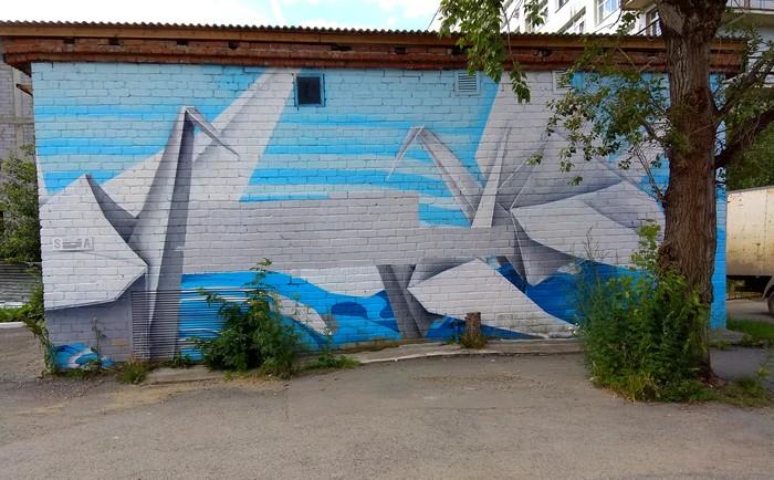 Граффити (так же как и стрит-арт) должны украшать стены, а не уродовать их #71 Граффити, Стрит-Арт, Уличная живопись, Екатеринбург, Оригами, Бумажные журавлики, Видео, Длиннопост