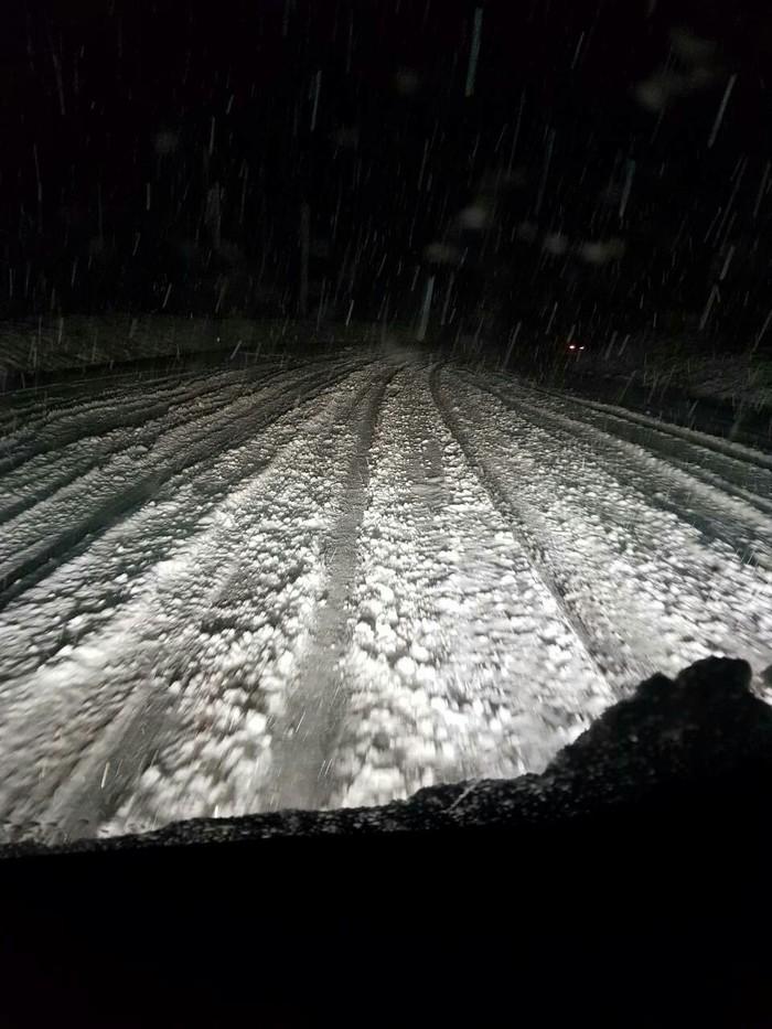 Снежный сентябрь Сегодня, Снег, Сентябрь, Дорога, Фото на тапок, Длиннопост